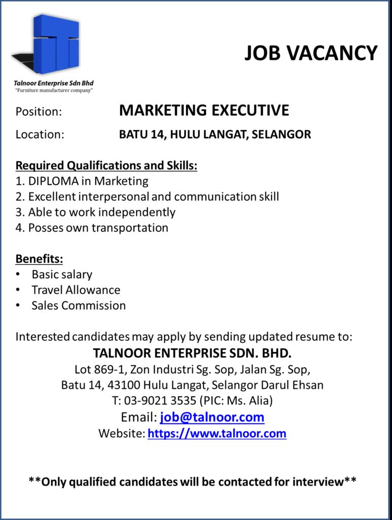 Job Vacancy Marketing Executive Talnoor Enterprise Sdn Bhd