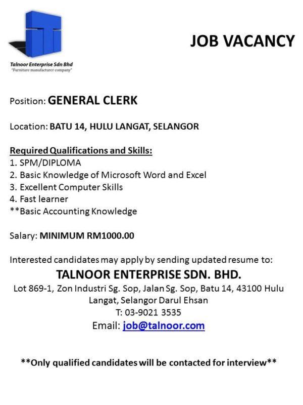 Job Vacancy General Clerk Talnoor Enterprise Sdn Bhd